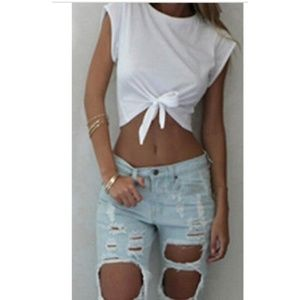 prestinedesign Tops - ❤️💜T-Shirt White Knotted Crop-Top-Quality
